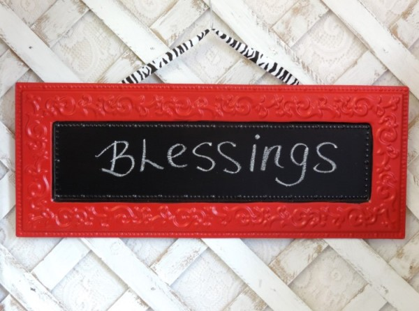 Cottage Chic Red Metal Chalkboard