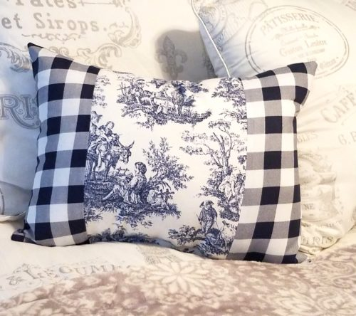 FRench Country blue and white toile pillow