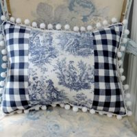 Handmade Country French Blue Toile Accent Pillow