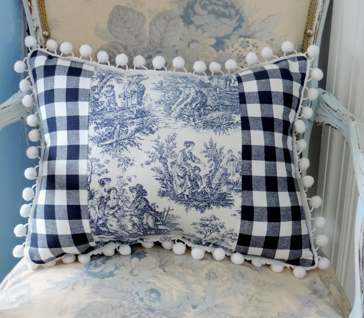 Handmade Country French Blue And White Toile Accent Pillow