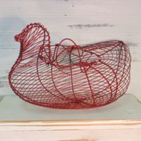 Red Country Chicken Wire Basket Farmhouse Kitchen Decor