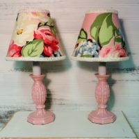 Shabby Pink Floral Accent Nightlight Lamps