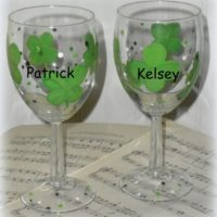 St. Patrick's Day Shamrock Wine Glasses