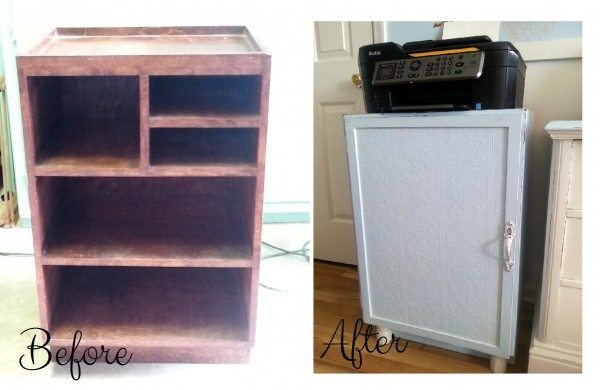 Before and After Upcycled Printer Cabinet
