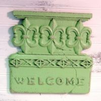 Shabby Cottage Green Welcome Plaque