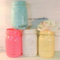 Painted Pastel Mason Jars, Shabby Cottage Chic Set of 4