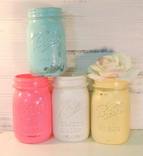 Shabby Cottage Pastel Painted Mason Jars