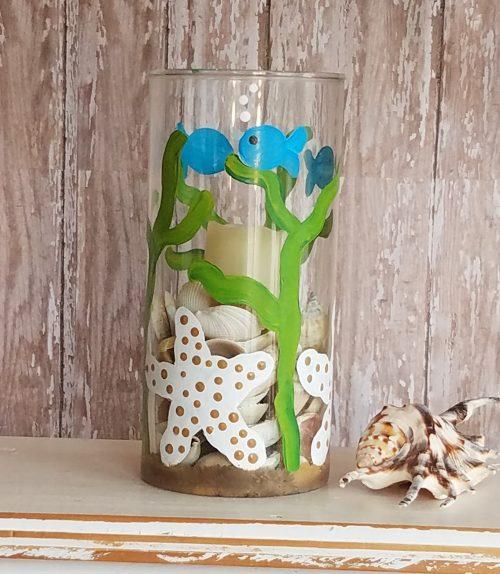 Hand painted starfish vase candle holder wedding table decor