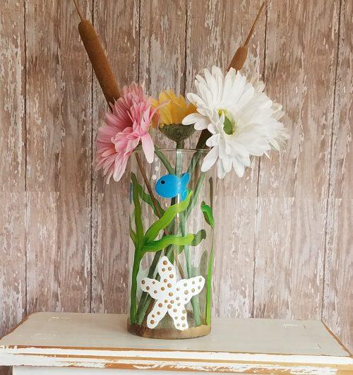 Handpainted Starfish Flower Vase Candle Holder