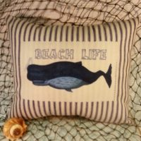Nautical Blue and White Ticking Vintage Whale Pillow