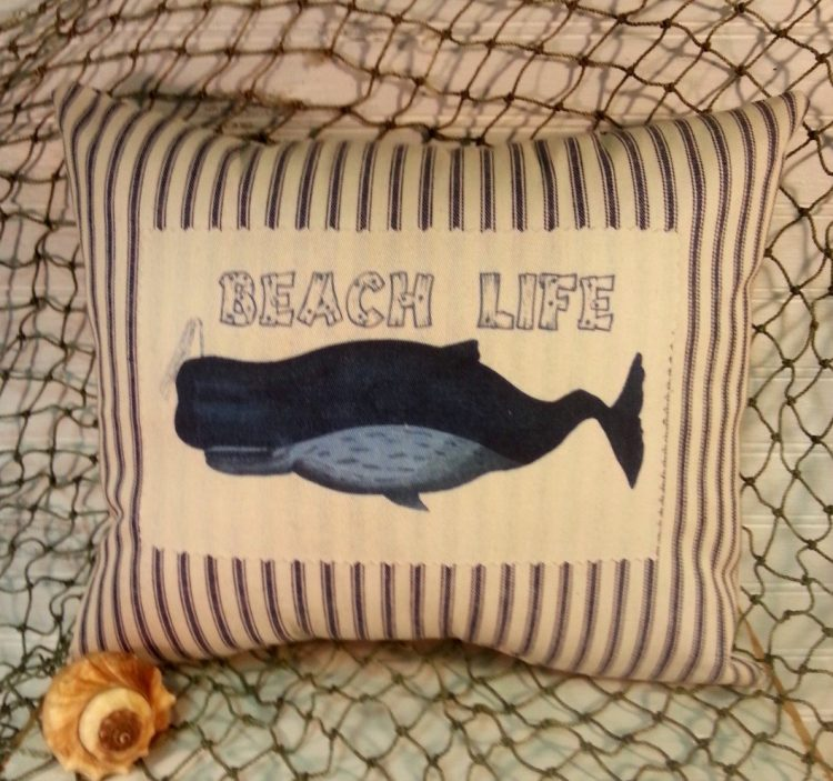 Nautical Blue and White Ticking Whale Pillow