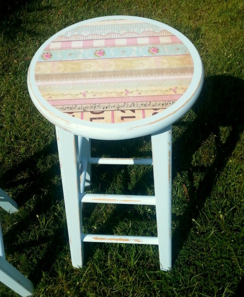 Painted and Decoupaged Kitchen Stool