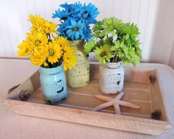 Painted Mason Jar Flower Vases
