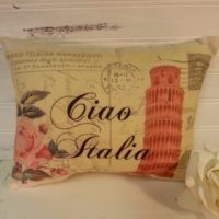 Vintage Inspired Italy Postcard Pillow