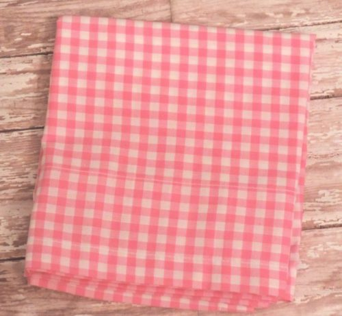 pink gingham check country curtain window valance