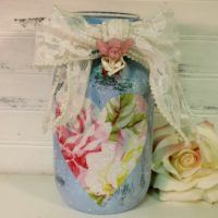 Blue Tanya Whelan Inspired Painted Mason Jar Candle Holder