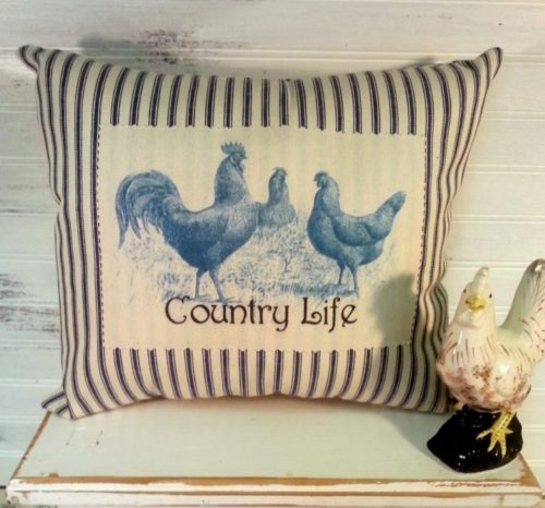 French Country Blue and White Ticking Country Rooster Pillow