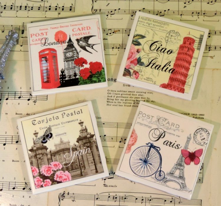 European Postcard Inspired Ceramic Tile Coaster Set