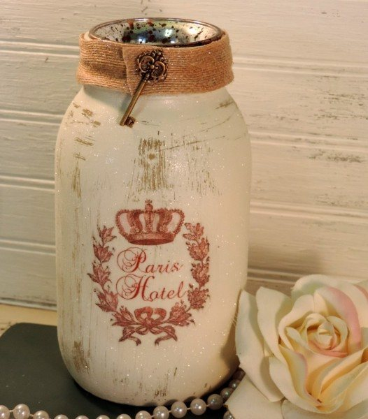French Paris Hotel Glittered Jar Candle Holder