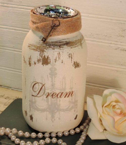 Glittered Shabby Chandelier DREAM Jar Candle Holder (1)