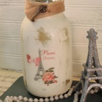 Glittered Paris Eiffel Tower Jar Candle Holder