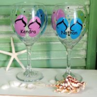 Personalized Flip Flop Wine Glasses Summer Beach Decor