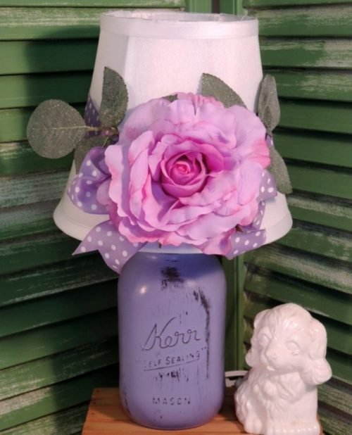 Shabby Chic Purple Mason Jar Lamp With Romantic Rose Shade