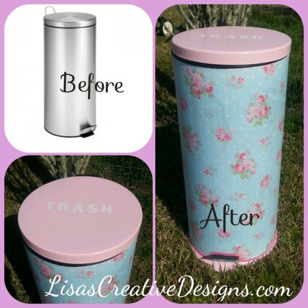 Shabby Chic Kitchen Trash Can Makeover