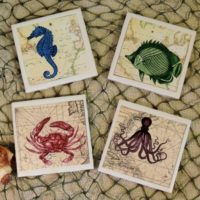 Vintage Sea Creature Nautical Map Ceramic Tile Coaster Set