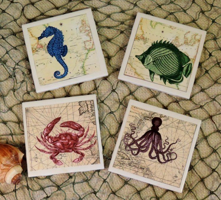 Coastal chic vintage sea creature ceramic tile coaster set for Vintage ocean decor