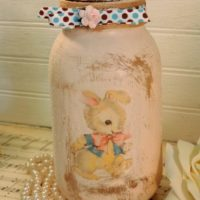 Glittered Shabby Vintage Inspired Bunny Jar Candle Holder