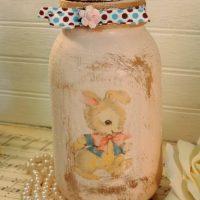 Glittered Shabby Vintage Inspired Bunny Jar Candle Holder