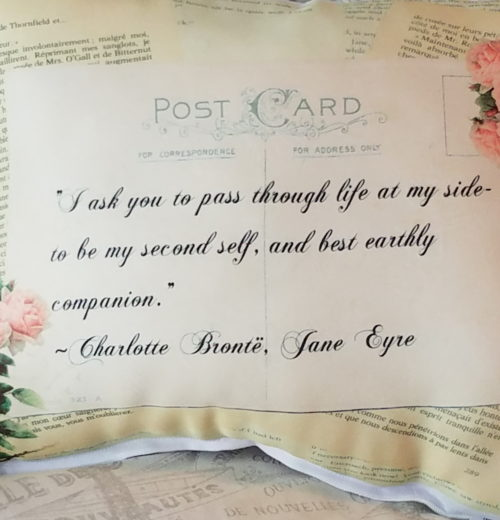 Romantic Vintage Inspired Jane Eyre Gift PIllow