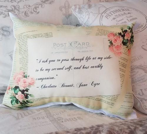 Romantic Vintage Inspired Jane Eyre Gift PIllow