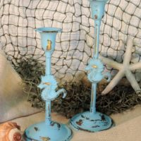 Shabby Blue Seahorse Painted Brass Candlesticks Candle Holders