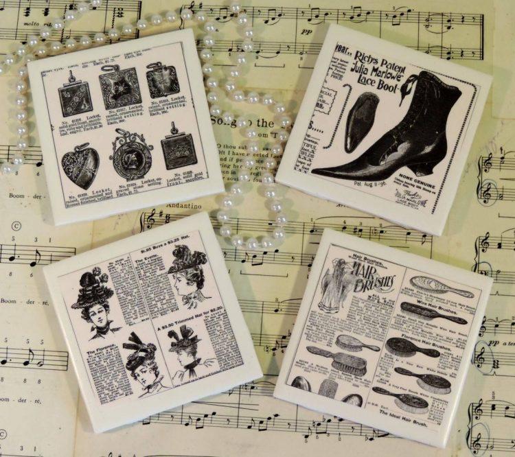 Steampunk Vintage Victorian Ceramic Tile Coaster Set