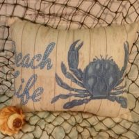 Handmade Vintage Inspired Beach Life Crab Pillow