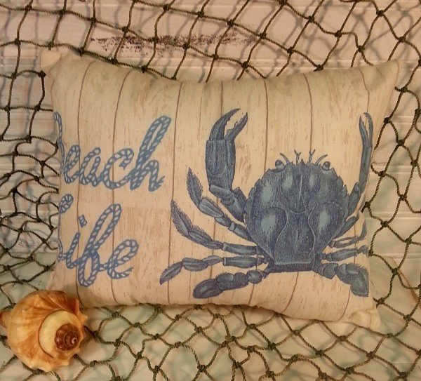 Beach Life Crab Pillow