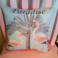 Vintage Inspired Flamingo Pillow