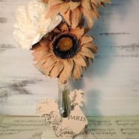 French Farmhouse Country Rooster Sunflower Floral Arrangement (3)