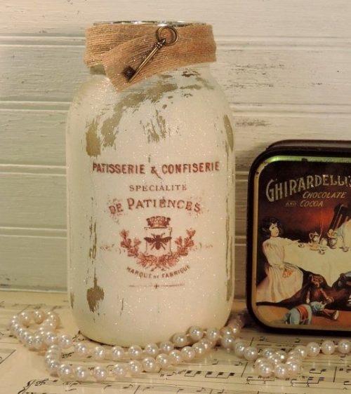 Glittered French Mason Jar Candle Holder