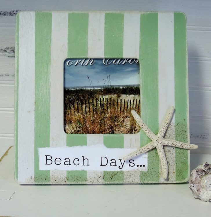 Hand Painted Green Striped Starfish Beach Days Picture Frame