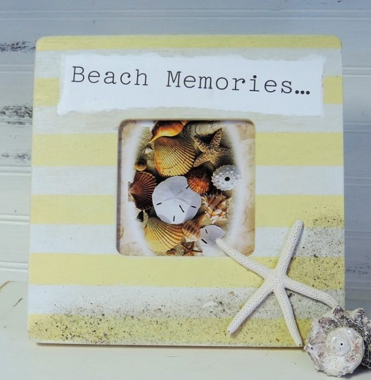 Hand Painted Yellow Striped Beach Memories Picture Frame