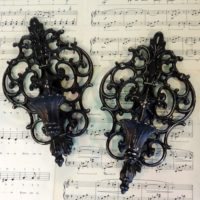 Ornate Black Painted Metal Candle Sconces
