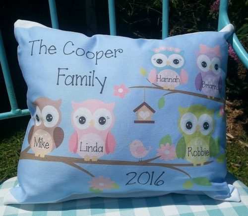 Personalized Owl Family Handmade Pillow