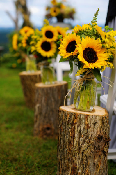 Sunflower Mason Jars For A Wedding