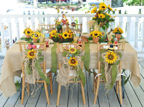 country sunflower wedding tablescape