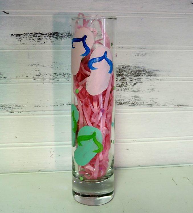 Hand Painted Flip Flop Bud Vase Flower Vase