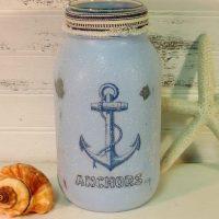 Coastal Vintage Anchor Painted Mason Jar Candle Holder