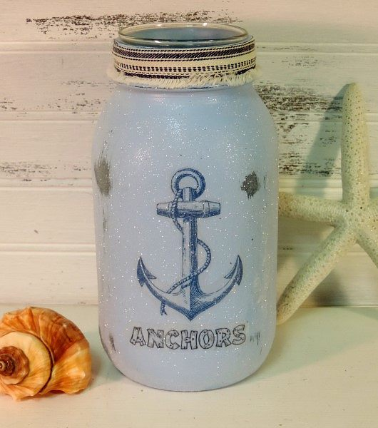 Glittered Beach Anchor Painted Mason Jar Candle Holder